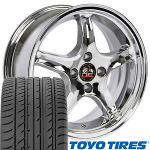17x8 17x9 Chrome Cobra Style Wheels Tires Rims Fit 4 Lug Mustang 79 93 Oew