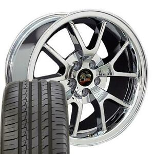 18 Wheel Tire Set Fit Ford Mustang Fr500 Style Chrome Rims Ironman