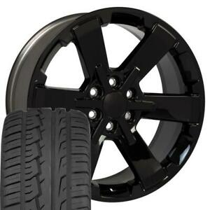 22x9 Fit Gmc Chevy Black Rally Style Ck162 22 Rims W ironman Tires Oew