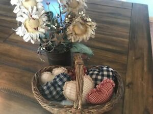 New Homespun Plaid Ornies Bowl Fillers Primitive Hearts Red Blue Tan Americana