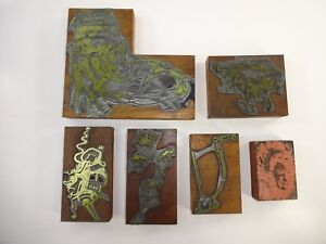 Vtg Lot Of 6 Printers Block Printing Letterpress Abstrat Art Deco Wood metal