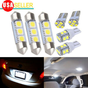 8x White Led Dome Map License Plate Light Bulbs Car Interior Led Package Kit Cp