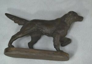 Setter Dog Retriever Pointer Irish English Bronze Door Stop Antique