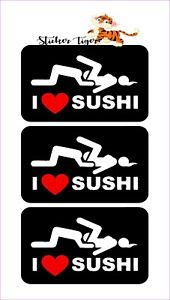 3 I Love Sushi Funny Helmet Hard Hat Motorcycle Sticker Decal 1x3