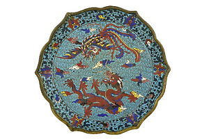 18th Century Chinese Cloisonne Dish W Dragon Phoenix