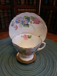 Vintage Hammersley Tea Cup And Saucer Bone China Morning Glory