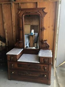 Antique Victorian Marble Top Dressing Table