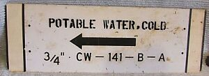 Old Industrial 8x24 Potable Water Cold Arrow Old Black White Metal Sign Free S H