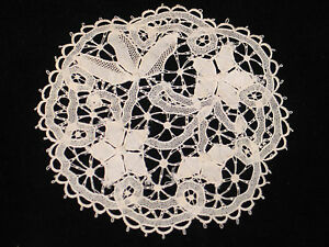 Antique Hand Made Point De Venise Lace Cocktail Beverage Napkins Coasters 9 Pc