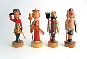 Vintage Hand Carved Wood Painted Figurine Lot In Original Box