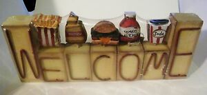 Welcome Hamburger Soda Fries Ketchup Country Kitchen Retro Decor Shelf Wood Sign