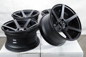 15x8 4x100 Matte Black Wheels Fits Toyota Corolla Prius C Civic Yaris 4 Lug Rims