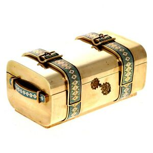 Rare Brass And Champleve Enamel Suitcase Form Jewelry Casket France 19th Century