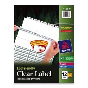 Avery Eco friendly Index Divider Print on 12 Tab s set 8 50 X ave11582