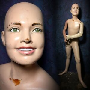 Darling Vintage 60s Mannequin Smiling Boy Male Teen Boy Kid Rare Creepy Teeth