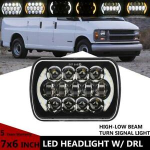 7x6 55w Led Headlight Hi lo Halo Drl For Chevy Express Cargo Van 1500 2500 3500