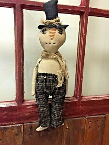 Primitive Grungy 16 Inch Snowman Hand Crafted With Top Hat Brown Flannel Pants