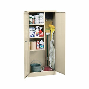 Sandusky Lee Welded Steel Janitorial Cabinet 30 X 15ind X 66 Putty Vfc1301566 07