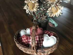 Homespun Plaid Ornies Bowl Fillers Primitive Hearts Red Tan Valentine S Day Cute