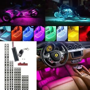 12pcs H d Led Neon Under Glow Lights Strip Kit W Remote For Car Motorcycles