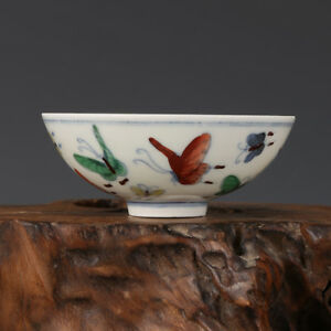 3 China Antique Porcelain Ming Chenghua Famille Rose Butterfly Cup