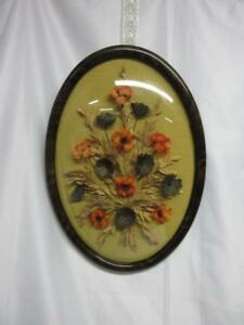 Vintage Picture Frame Oval Stained Wood Convex Bubble Glass With Fake Flowers