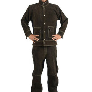 Welding Jackets Coat flame Resistant Welding Suits Welder Clothing Brown L
