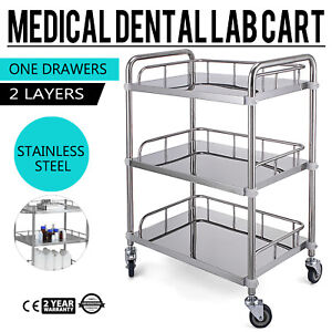 3 layer Stainless Steel Lab Medical Equipment Cart Quiet Easy Assemble Dentist