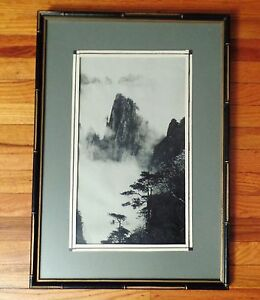 Vintage China Mountain Silk Embroidery Artwork Under Glass With Bamboo Frame
