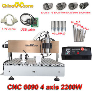 Cnc 6090 Router Milling Engraving Machine 4axis 2200w Diy Cnc Cutting Machine