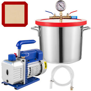 3 Cfm 1 Stage Vacuum Pump 50 L m Stainless Vacuum Chamber Degassing Silicone