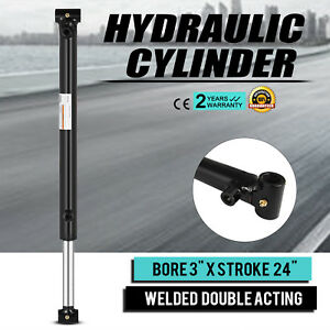 Hydraulic Cylinder 3 Bore 24 Stroke Double Acting Black Agriculture Excellent