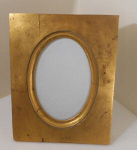 Picture Frame Vintage Antique Goldgilt Wood Oval Cut Out W Glass 6 X 4 Pic Area