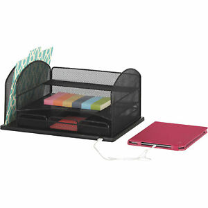 Mayline Safco Powered Onyx Desktop Organizer With 3 Drawers Black Model 3234bl