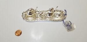 Vintage Silver Plate Doll Miniature 5 Piece Tea Set In Tray Made In England