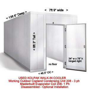 Used 8 X 13 Walk in Cooler Refrigerator W Evaporator Remote Outdoor Condenser