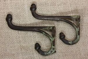 2 Coat Hooks Acorn Tip Rustic School Farm House Old Vintage 1800 S Cast Iron