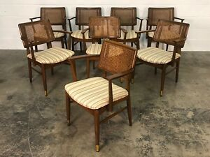 Mid Century Modern Open Arm Dining Chair Set Of 8