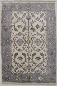Bamboo Silk Oushak Chobi 4x6 All Over Design Foyer Beige Rug Oriental Carpet