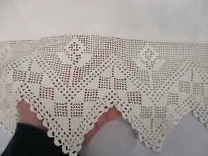 Antique White Linen Bed Sheet With Hand Crochet Flower Top Edge 85 X 100 Flat