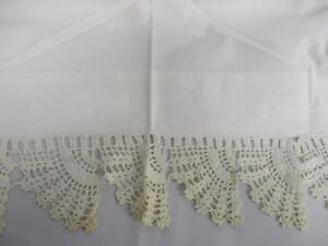 Antique White Linen Flat Bed Sheet With Hand Crochet Top Edge 90 Wide X 96