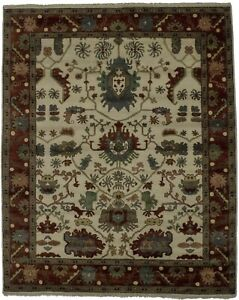 Lovely Hand Knotted Vintage Floral Oushak Chobi Indian Rug Oriental Carpet 8x10