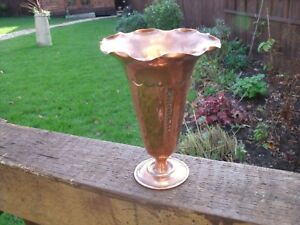 Arts And Crafts Copper Vase With Wavy Rim Lightly Hammered Pattern