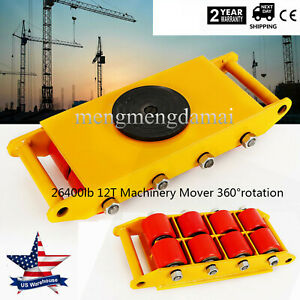 12t 26400lb Heavy Duty Machine Dolly Skate Roller Machinery Mover Yellow Top
