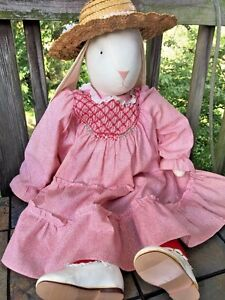 Antique Primitive Country Girl Lop Ear Rabbit Straw Hat Doll Patent Leather Shoe