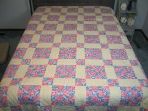 Antique Vintage 4 Four Patch Quilt Hand Quilted Clam Shell Design 82 X 70 Inches