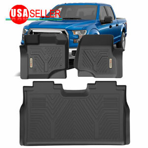All Weather Floor Mats Floor Liners For 2015 2019 Ford F 150 Supercrew Cab Black