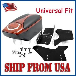 Us Walnut Wood Leather Front Center Console Armrest Box Cup Holder Universal Fit
