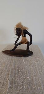 Vintage Tribal Polynesian Tiki Wooden Carved Dude On Surfboard