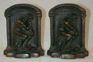 Vintage Heavy Bronzed Cast Iron Bookends Auguste Rodin S The Thinker